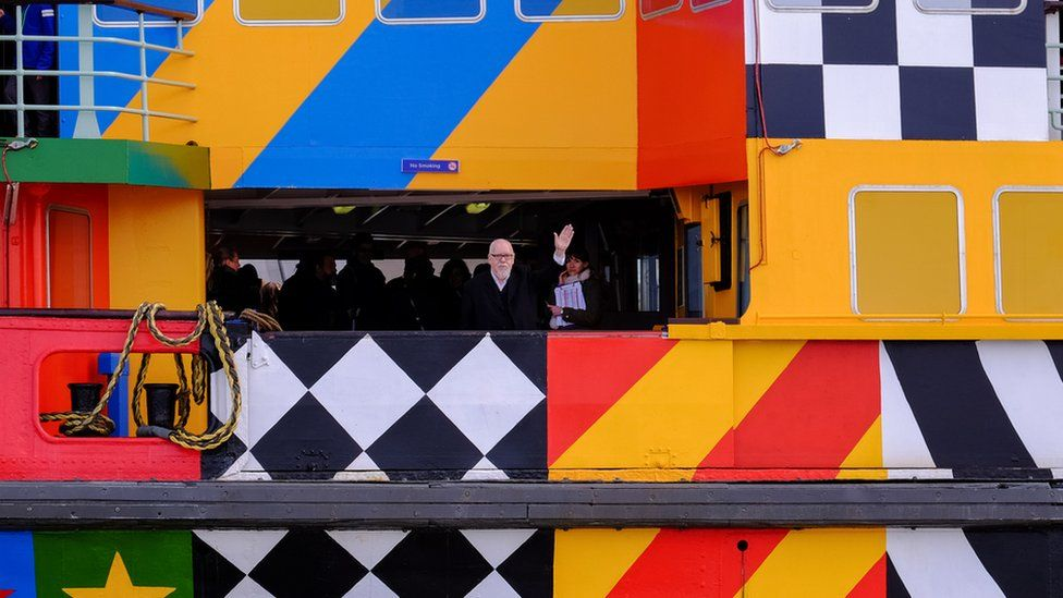 Sir Peter Blake on the Everybody Razzle Dazzle ferry