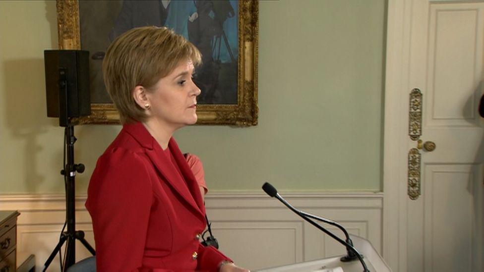 Nicola Sturgeon making statement at Bute House