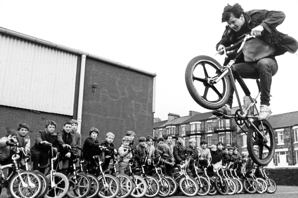 Martin Brunning in action on a BMX, 29 December 1983. The bikers handed a 100 name petition to local councillors calling for a BMX track to be built in Redcar