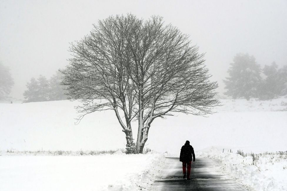 A man walks along a path at Gleneagles golf course in Scotland on 14 January 2021