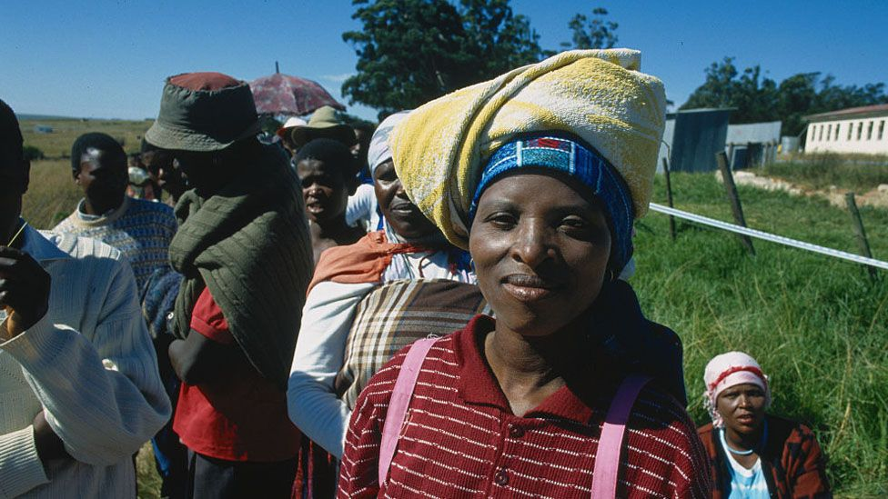 South Africans Standing in Line to Vote During 1994 Elections