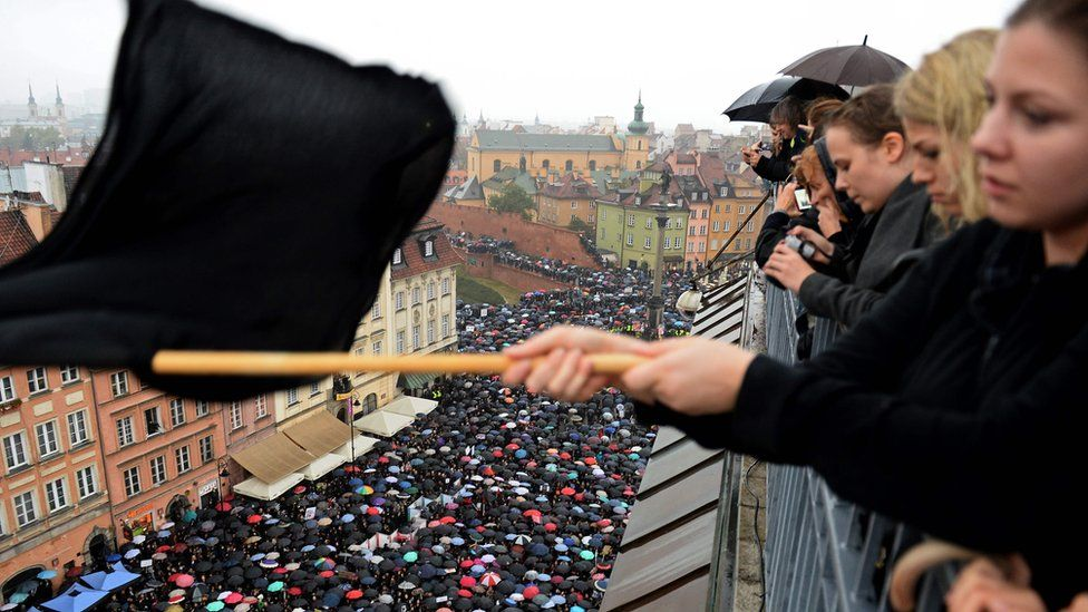 "A rally in Warsaw during a nationwide ""Black Monday"" protest on 3 October"