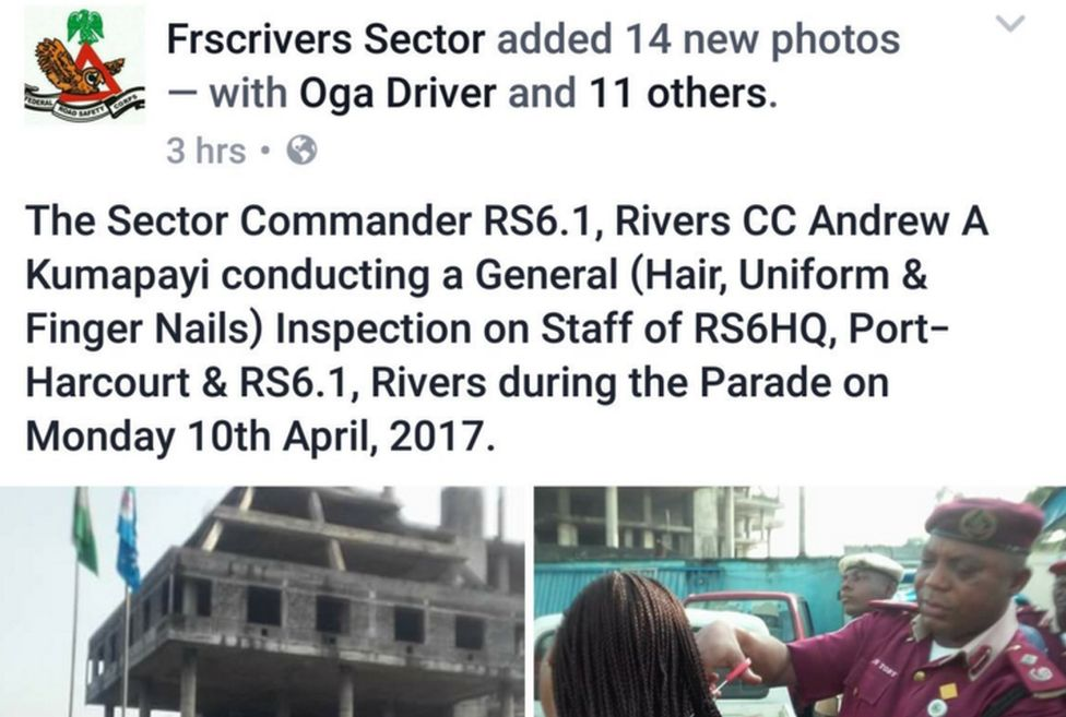 Post from FRSC Facebook says that sector commanders was conducting a hair, uniform and finger nails inspection; photo shows him cutting off female employees' hair