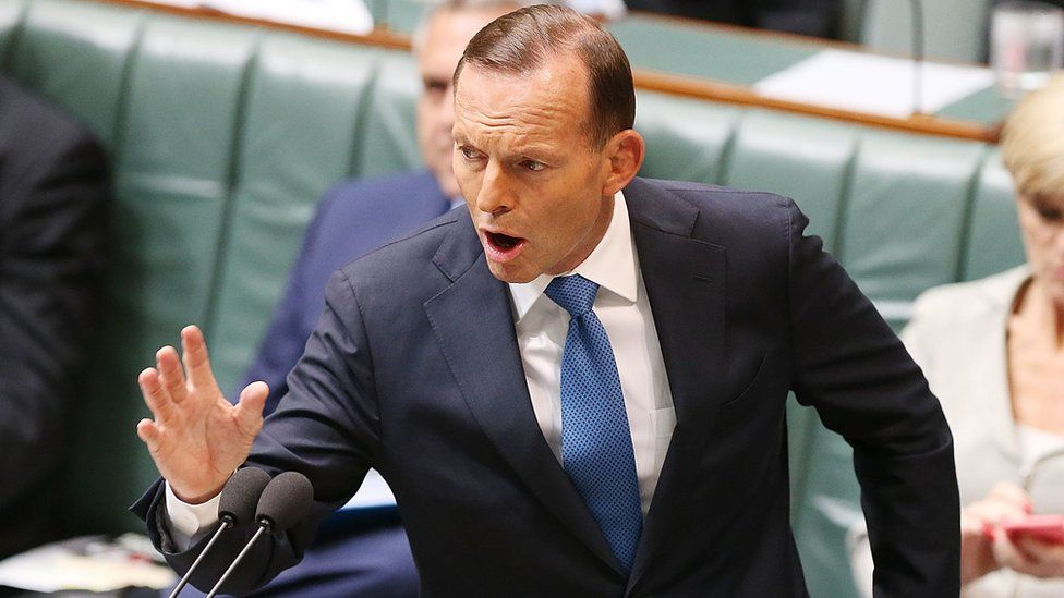 Former Australian Prime Minister Tony Abbott during House of Representatives question time at Parliament House in in Canberra, 4 December 2014