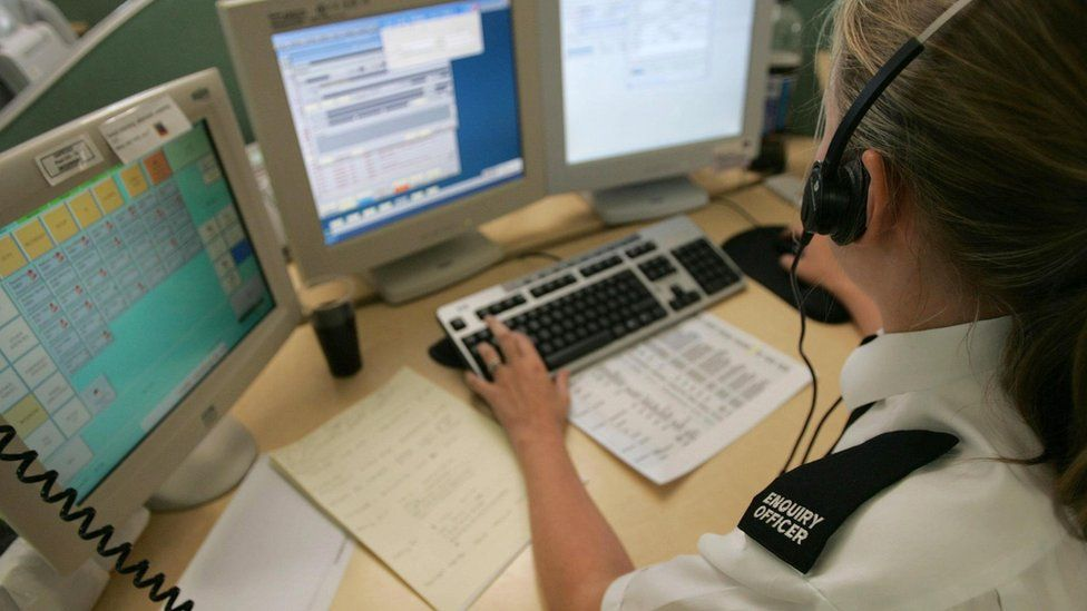 Call handler in a police control room