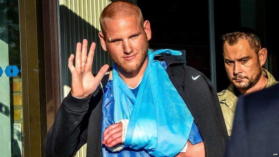 Spencer Stone leaves the Lesquin hospital after treatment, 22 Aug