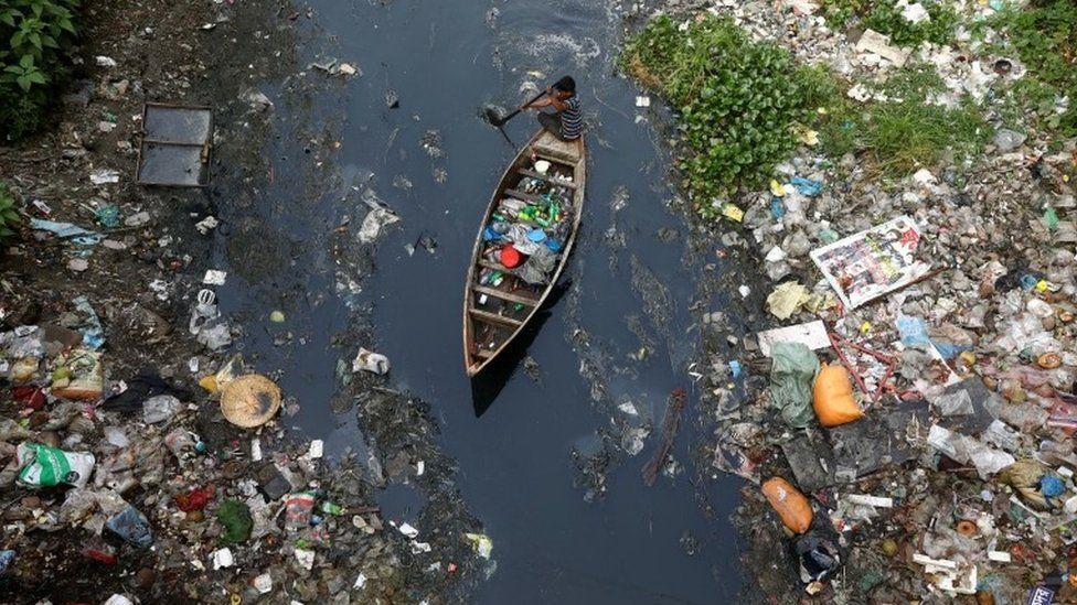 A boat travels through plastic