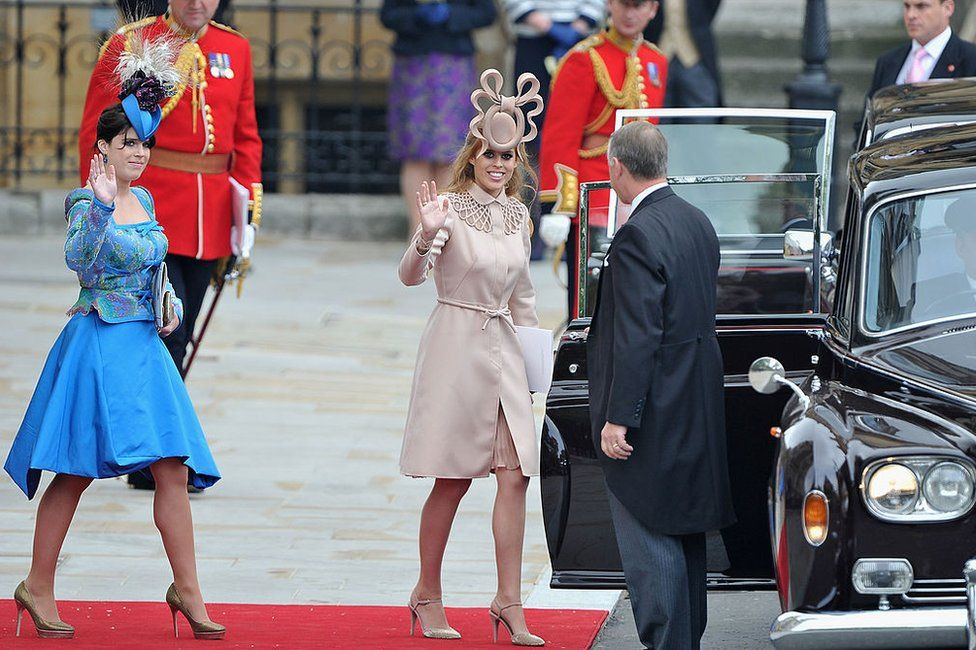 Princess Beatrice and Princess Eugenie at the wedding of the Duke and Duchess of Cambridge in 2011