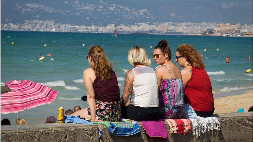 Tourists at the Playa de Palma beach in September 2019