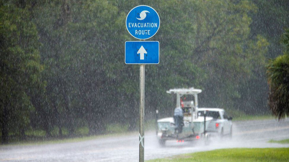 People head out of Steinhatchee in advance of the arrival of storm Elsa on July 6, 2021 in Steinhatchee, Florida