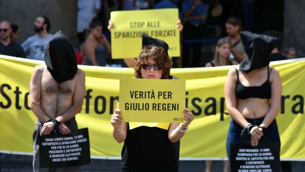 Amnesty International protest in Rome, July 2016