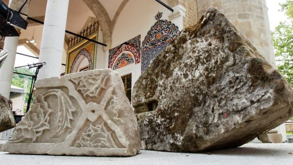 Stones from old Aladza Mosque that was demolished at the beginning of the Bosnian war, are seen in Foca,