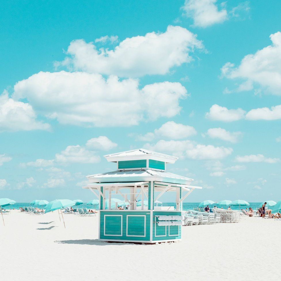 Cabana rental structures on Miami Beach