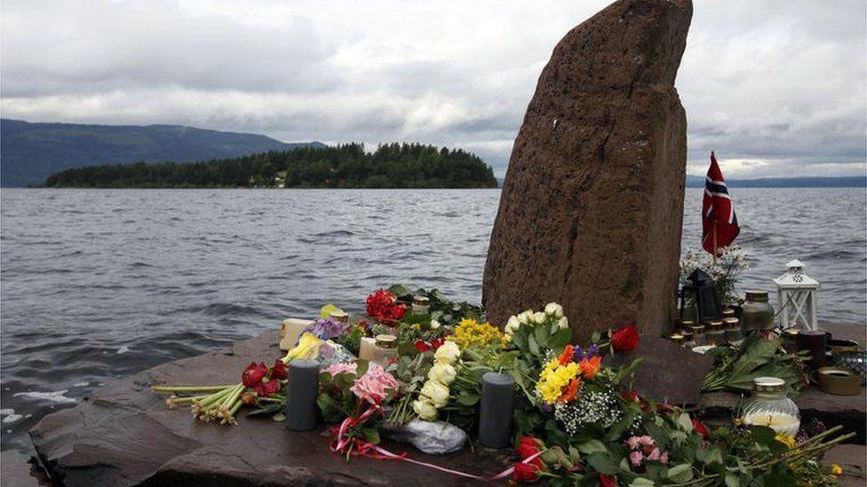 Flowers on memorial at Utoya Island