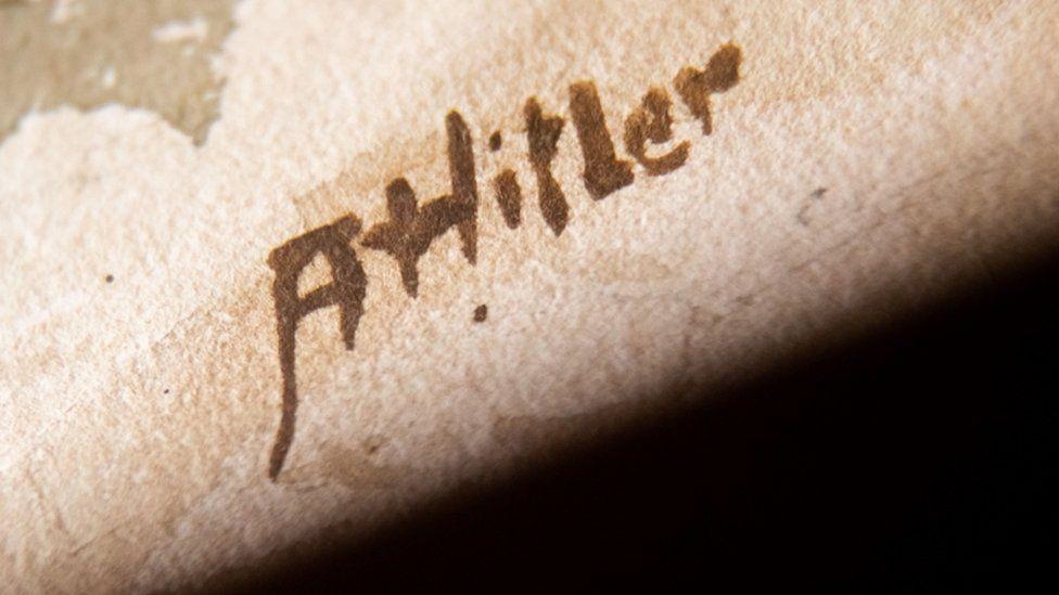 A watercolour signature says ' A Hitler'