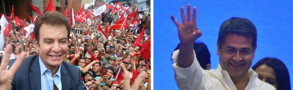 Pictures of Salvador Nasralla (left) and Juan Orlando Hernández during their campaigns for the presidency
