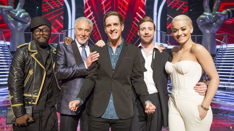 This year's winner Stevie McCrorie pictured with the 2015 judging panel, will.i.am, Sir Tom Jones, Ricky Wilson and Rita Ora