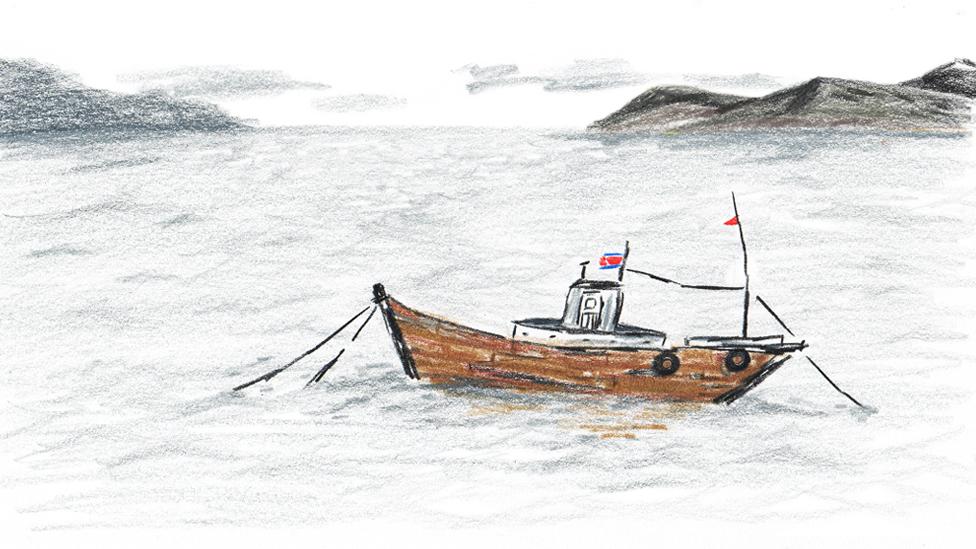 Drawing of a fishing boat at sea