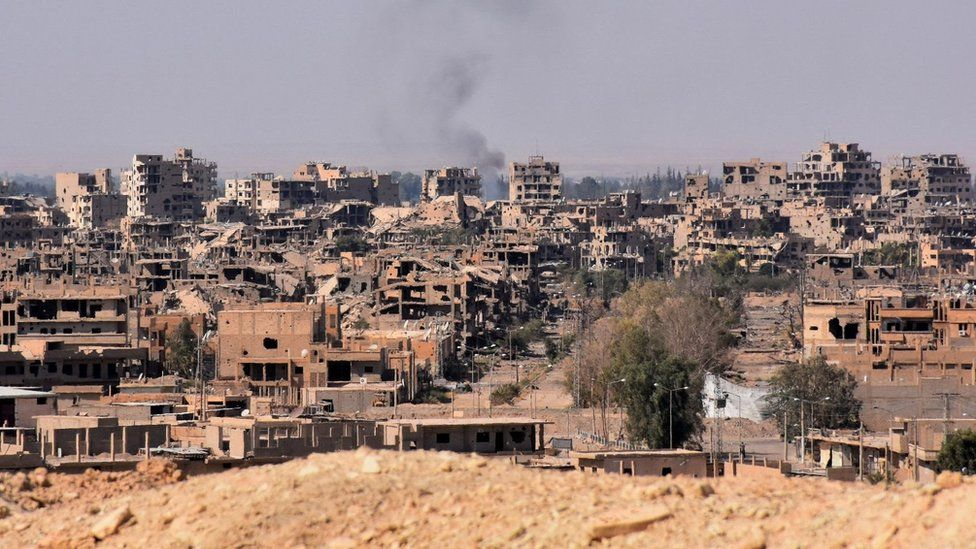 A general view of the eastern Syrian city of Deir al-Zour on 11 September 2017