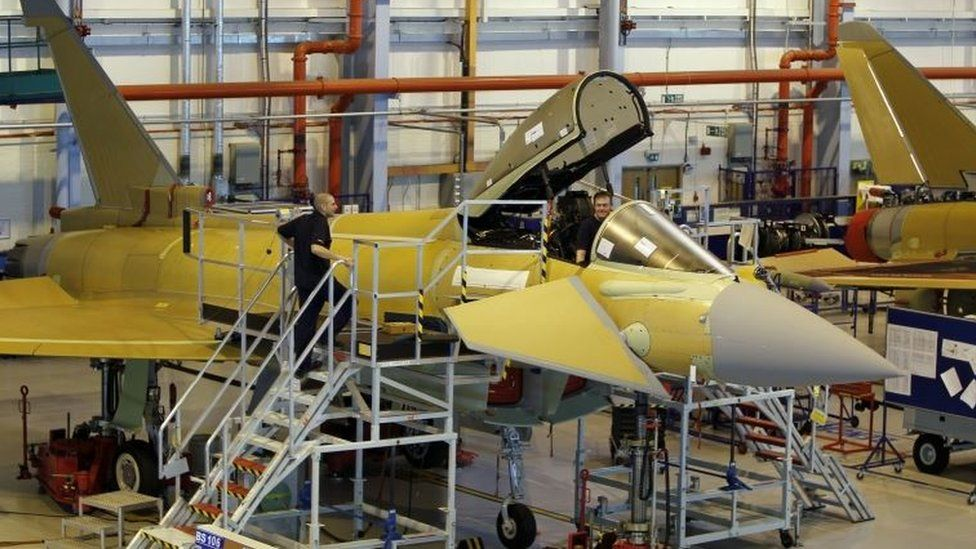 Employees at work on a Eurofighter Typhoon at BAE Systems, Warton Aerodrome in 2012