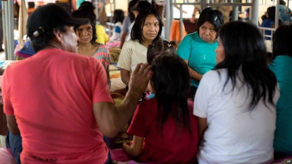 Women and children rescued by the Peruvian army from the Shining Path