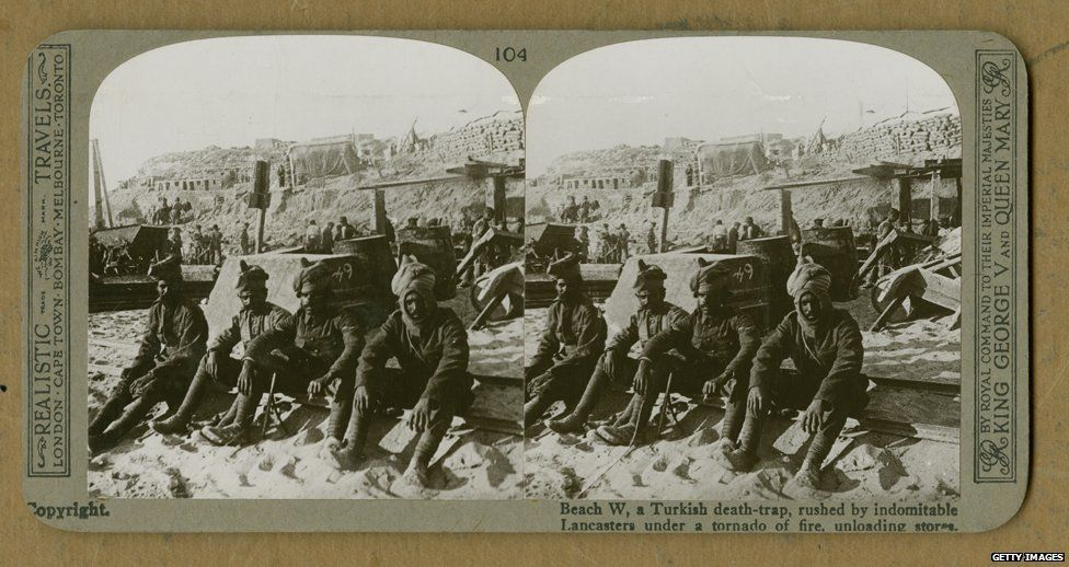 Stereoscopic image of Indian troops on W Beach on Cape Helles, where stores are being unloaded during the Gallipoli Campaign, Gallipoli peninsula