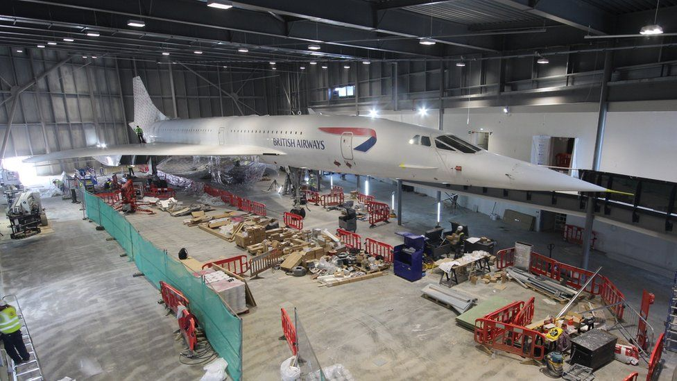 Hundreds of metres of film protected the last Concorde to fly from building work
