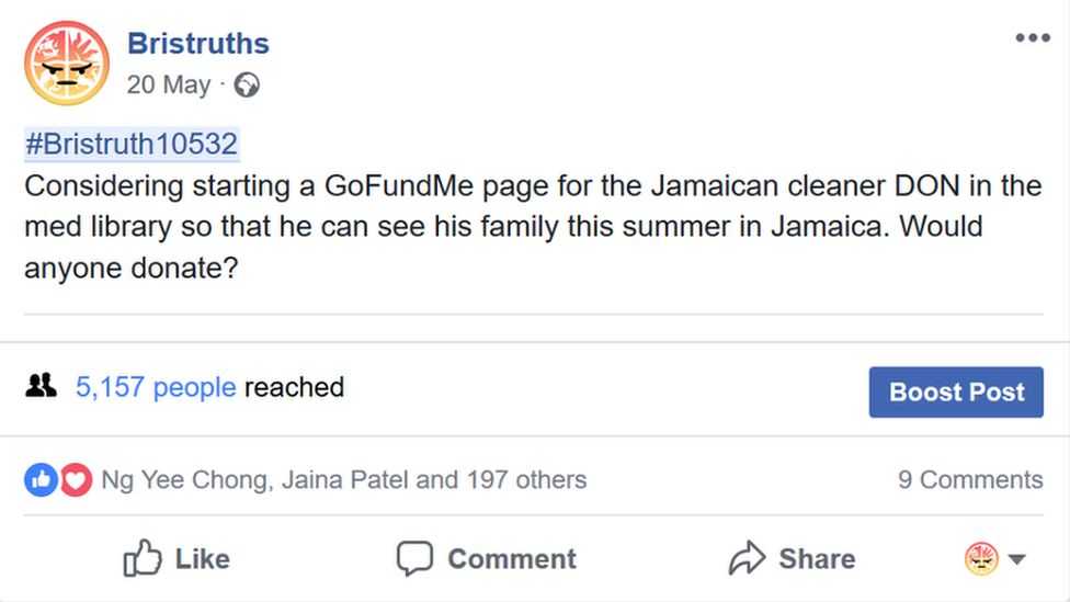 A Facebook post about crowfunding for Herman Gordon