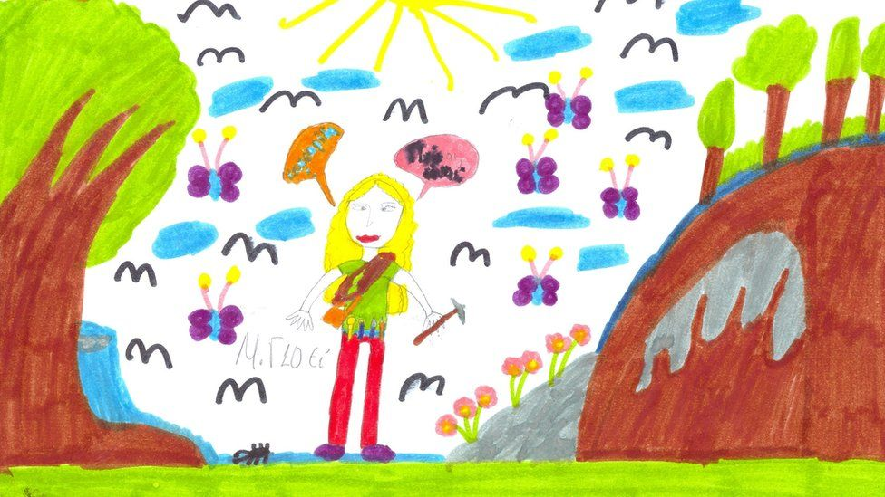 A child's drawing of a scientist with yellow hair standing outside with a geological hammer