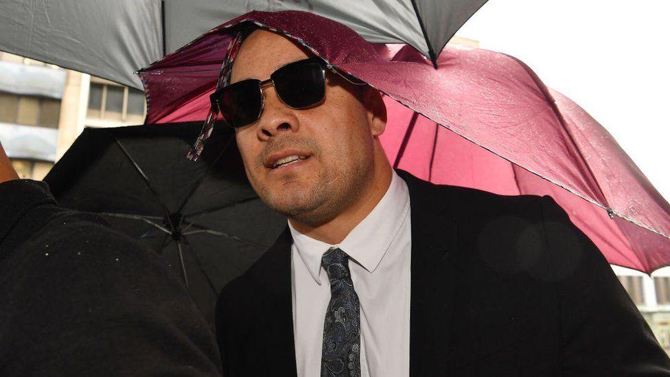 Jarryd Hayne arrives at Newcastle District Court on May 6, 202
