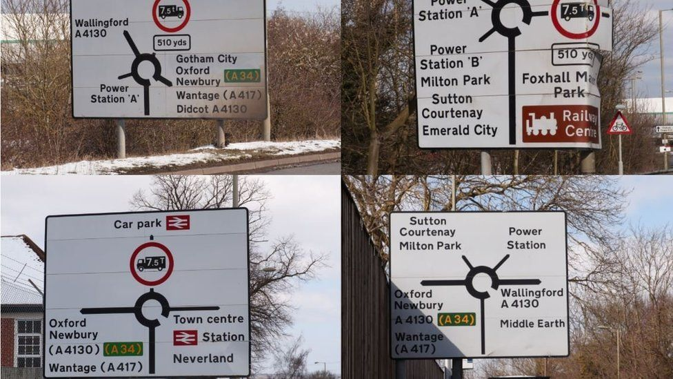 The mysterious signs appeared on the A420