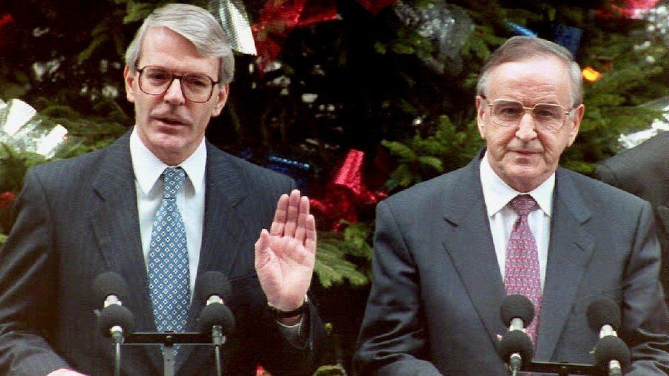 John Major and Albert Reynolds outside Downing Street in December 1993