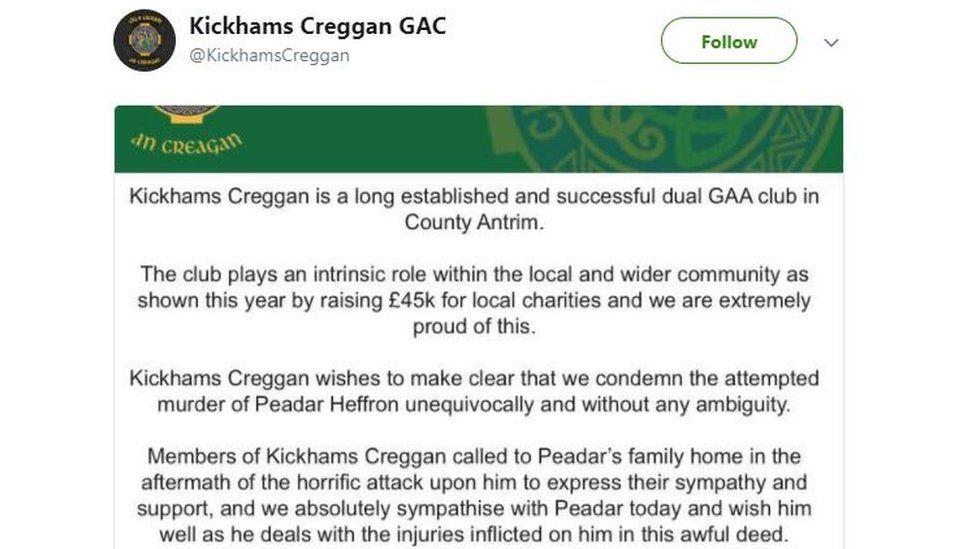 Kickhams Creggan GAA club released a statement on Saturday