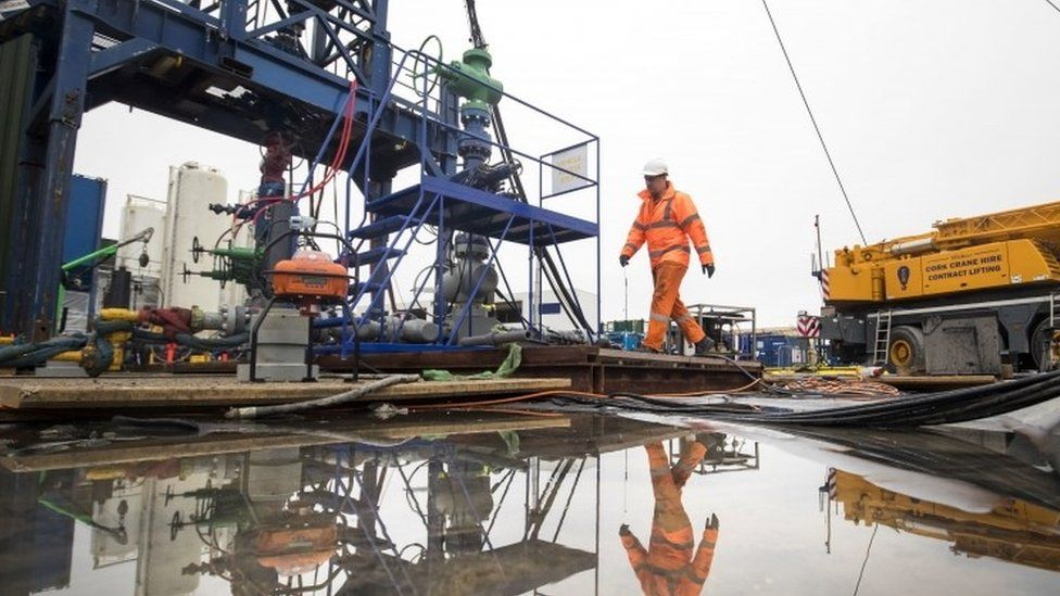 A worker at the Cuadrilla fracking site in Preston New Road, Little Plumpton