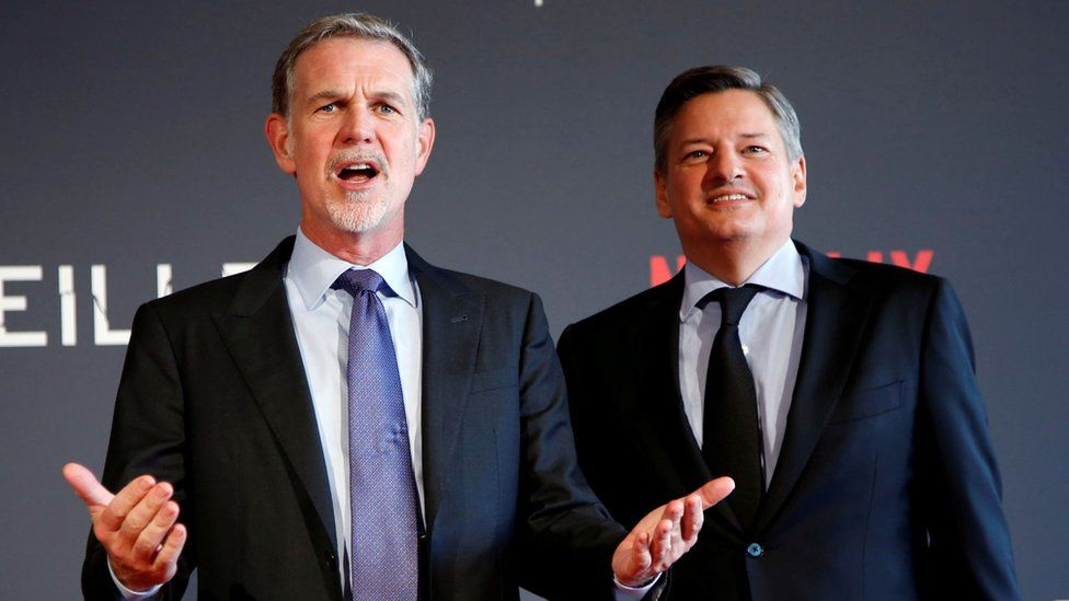 Reed Hastings (L) with co-CEO Ted Sarandos (R)