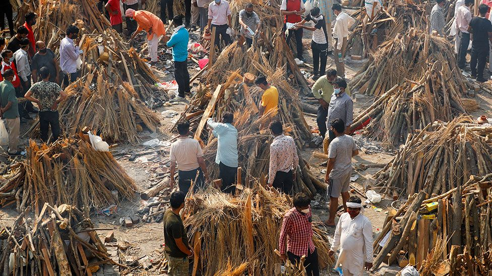 Unlit funeral pyres in Delhi, India