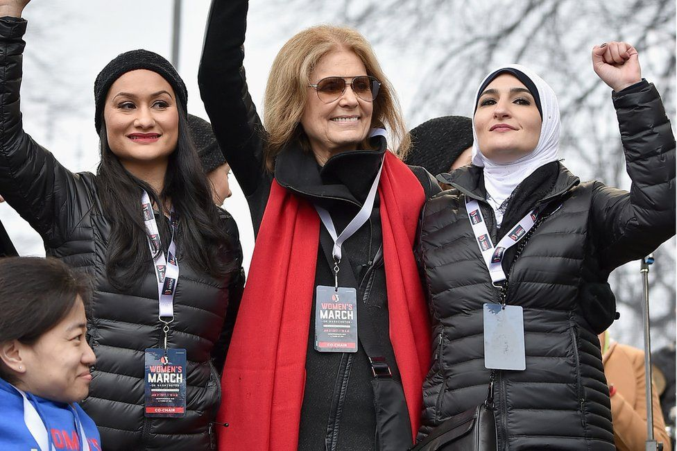 Carmen Perez, Gloria Steinem, Linda Sarsour and (front row) Mia Ives-Rublee