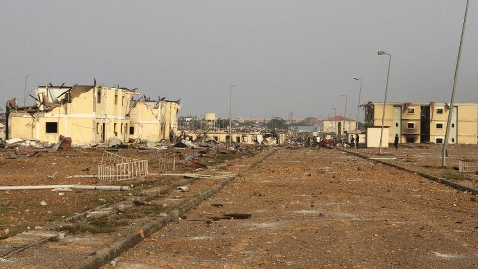 The aftermath of a series of blasts on Sunday in Equatorial Guinea which left over 30 dead