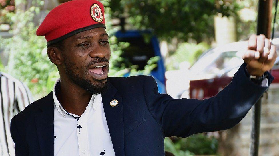 Bobi Wine at a press conference