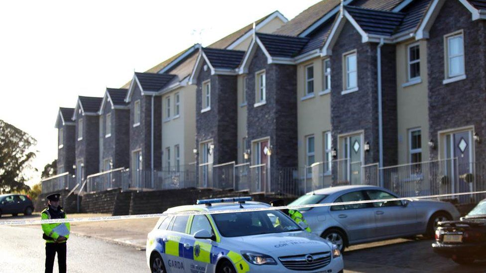 Police at cordon of the scene of the fatal shooting in Omeath, County Louth