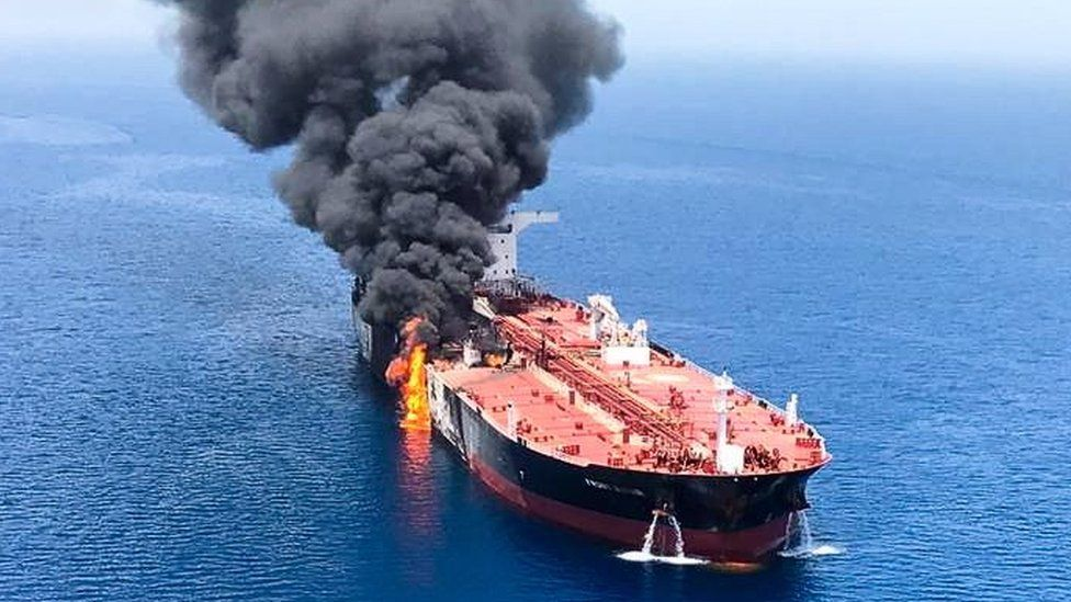 A crude oil tanker Front Altair on fire in the Gulf of Oman,