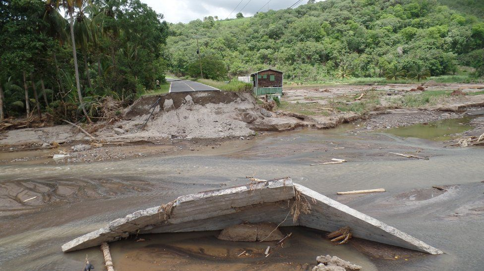 A flooded road in Dominica