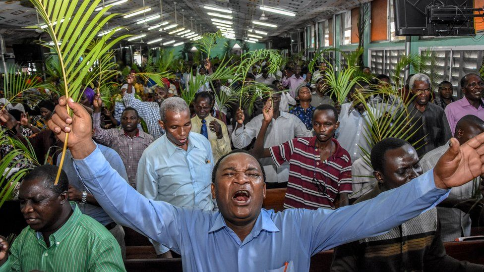People at church in Dar es Salaam, Tanzania - 5 April 2020