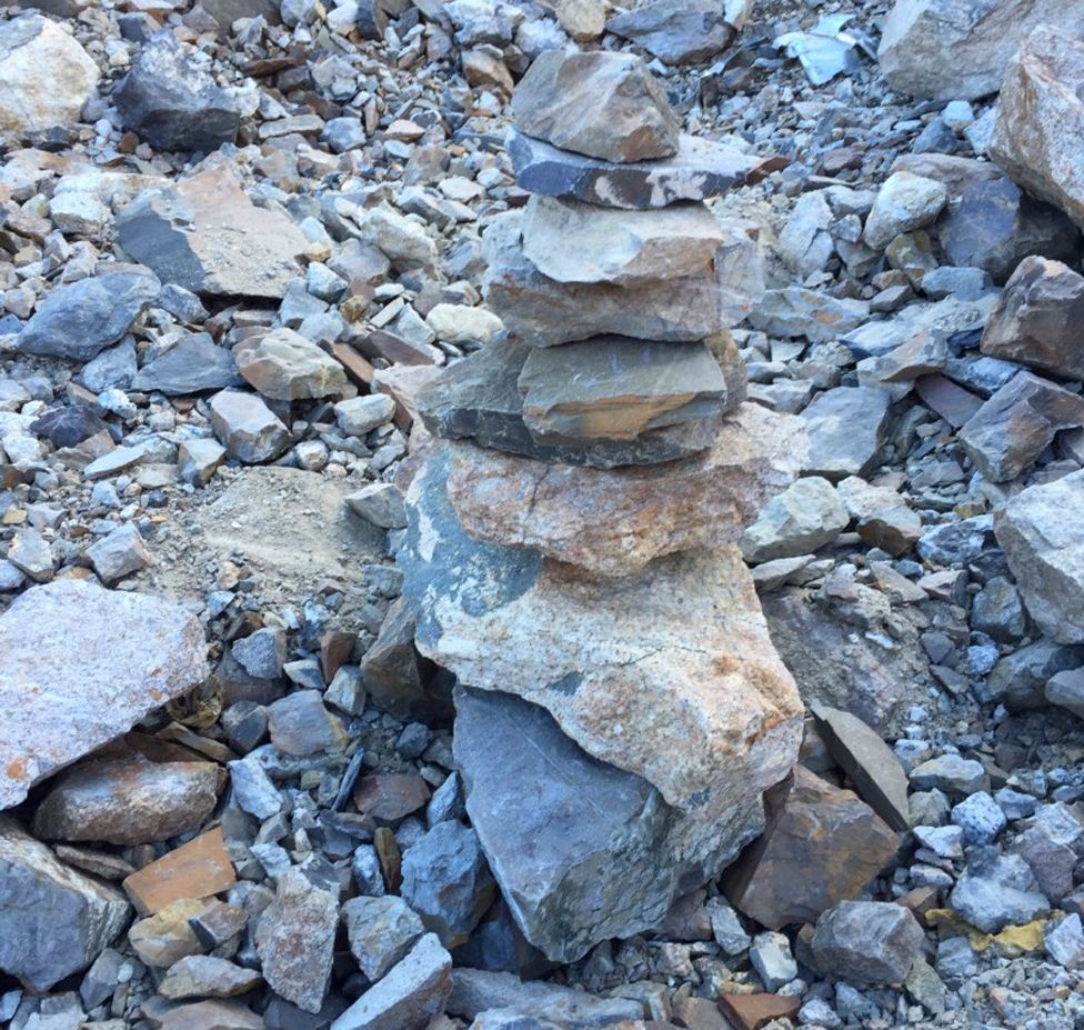 One of the rock stacks the team used to mark human remains found on the mountainside