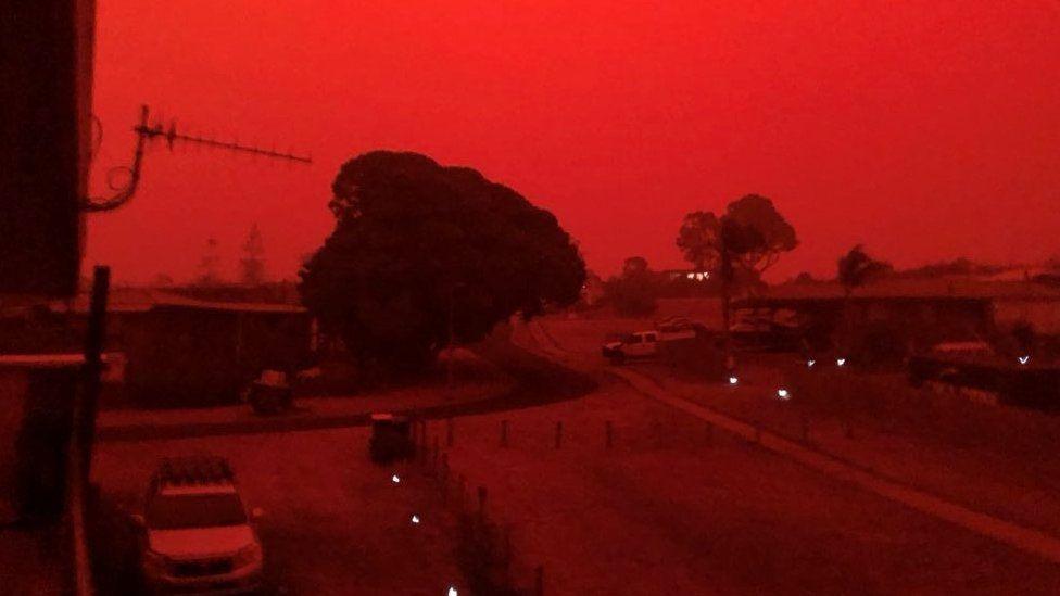 Red skies descend over Mallacoota, Victoria, Australia on 4 January