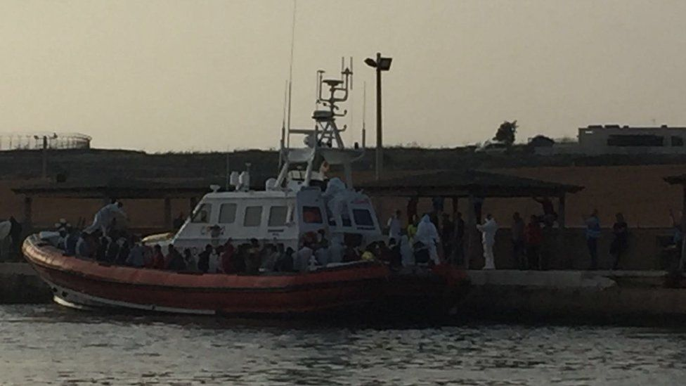 The Malian girl was rescued from this coastguard's boat