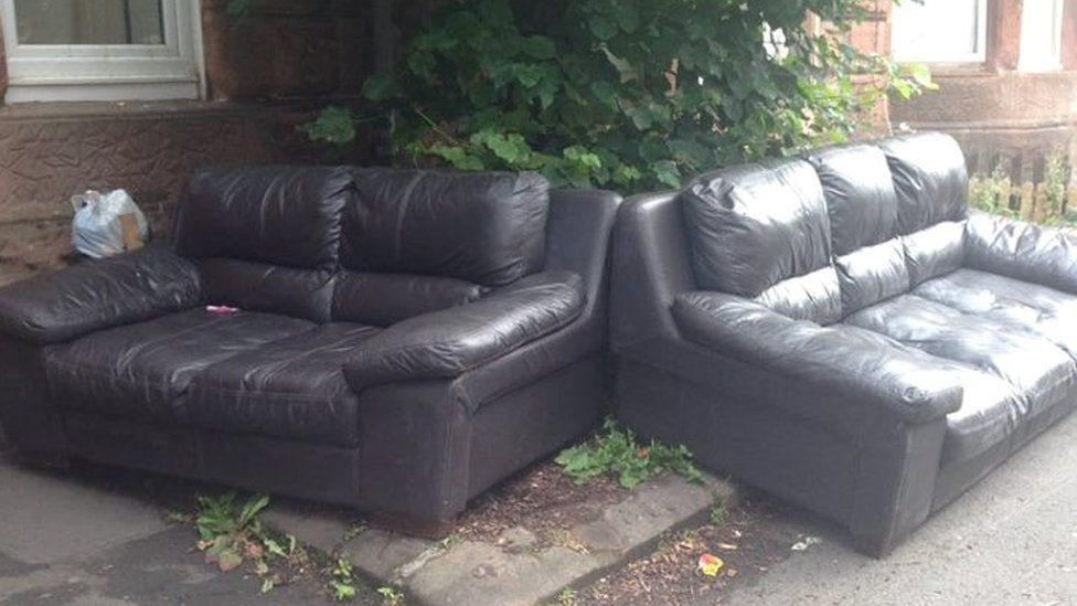 Abandoned sofas on a Glasgow street