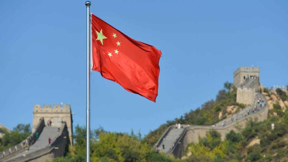 China flag by great wall