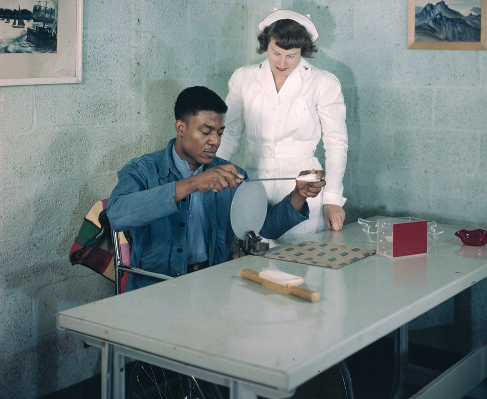 """""""Vocational Occupational Therapy, ca. 1950s."""" (Acc. 218558-27) Otis Historical Archives. National Museum of Health and Medicine."""
