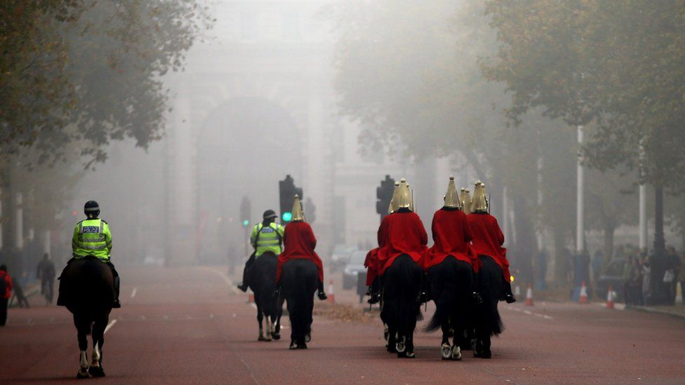 Fog on The Mall in central London